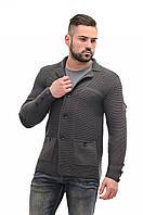 Пиджак мужской вязаный стильный темно-серый