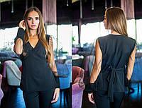Элегантный женский костюм с сеткой на рукавах 311069
