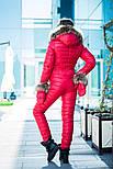 Женский зимний теплый комбез с натуральным мехом в расцветках 31081, фото 8