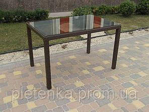 Стол прямоугольный из искусственного ротанга со стеклом  №73, длина 120см