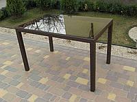 Стол прямоугольный из искусственного ротанга со стеклом  №73, длина 160см