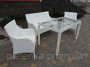 Стол прямоугольный из искусственного ротанга со стеклом  №73, длина 140см