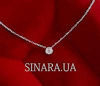 Серебряный кулон один камень с цепочкой - Серебряное колье 1 камень 4 мм