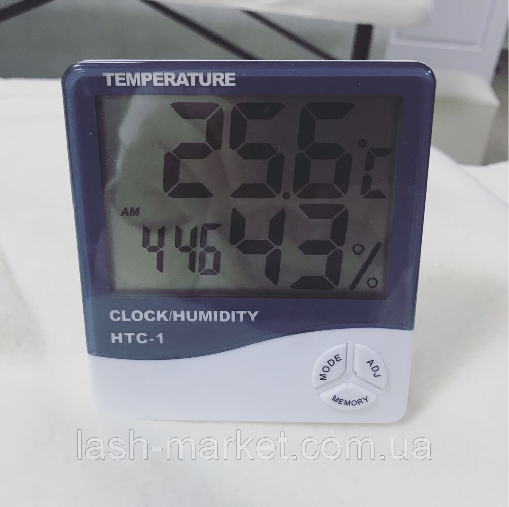 Гигрометр термометр со встроенными часами HTC-1