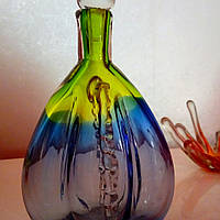 Графин толстое цветное чешское стекло