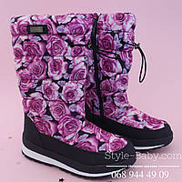Термо-сапоги дутики зимние Розы для девочки тм Bi&Ki р. 33,34,35,36,37,38