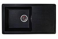 Кухонная гранитная мойка 78*44 одна чаша Valetti черного цвета серия Europe модель №36