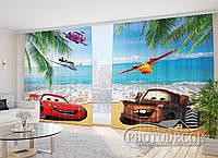 """Фото Штори для дітей """"Тачки на морі"""" 2,7 м*5,0 м (2 полотна по 2,5 м), тасьма"""
