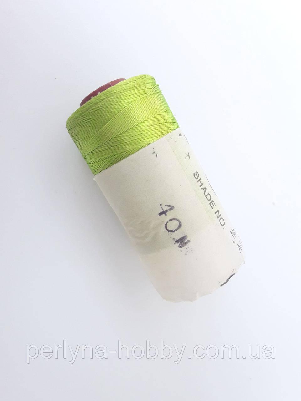 Нитки шовкові ( віскоза ) для вишивання, для  ручної роботи, 23 грам. Індія. Салатовий ( з жовтизною) № 40N