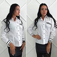 Белая женская котоновая  стильная рубашка с длинным рукавом и черными кожаными вставками. Арт-2615/39