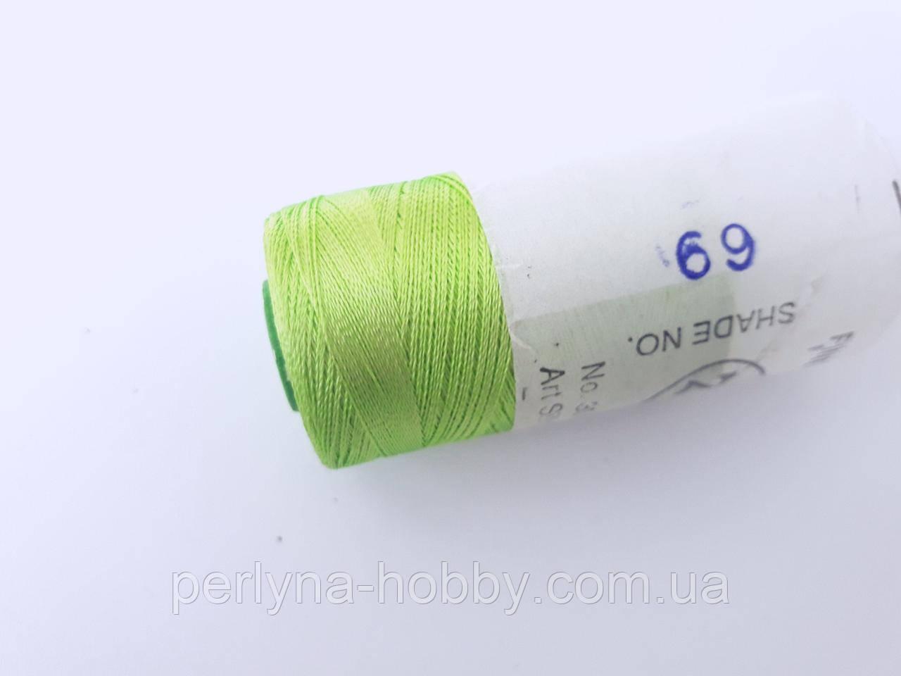 Нитки шовкові ( віскоза ) для вишивання, для  ручної роботи, 23 грам. Індія. Салатовий  № 69