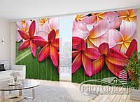 """3D Фото Шторы в зал """"Тропические цветы"""" 2,7м*3,5м (2 половинки по 1,75м), тесьма"""