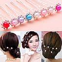 Шпильки для волос с розовой бусиной и стразами, фото 3