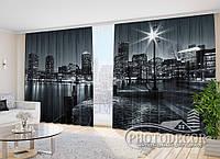 """Фото Шторы в зал """"Бостонская гавань"""" 2,7м*3,5м (2 половинки по 1,75м), тесьма"""