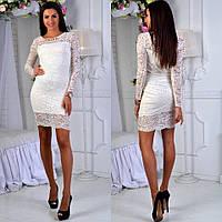 3472121b41d Белое элегантное облегающее гипюровое платье с украшением. Арт-2618 39