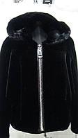 """Шубка из эко-меха под бобра,с капюшоном на молнии длина 55 см цвет"""" Черный"""" 44р 46р 48р 50р 52р"""