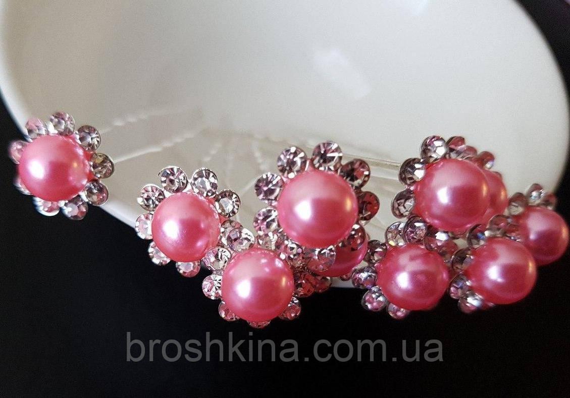 Шпильки для волос с розовой бусиной и стразами