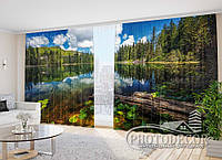 "Фото Шторы в зал ""Лесное озеро"" 2,7м*3,5м (2 половинки по 1,75м), тесьма"