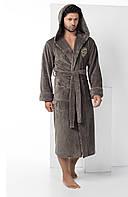 Халат мужской длинный с капюшоном NS-2870 Nusa хаки, L/XL
