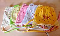 Трикотажные шапки на девочку Baby на завязках 36-40 см