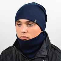 Комплект шапка и снуд утеплённая мел. темно синий