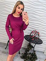Стильное женское удлиненное платье в полоску с поясом, фиолетое, марсала тренд осени 2017