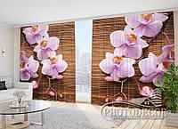 "3D Фото Шторы в зал ""Орхидеи и дерево"" 2,7м*5,0м (2 полотна по 2,5м), тесьма"
