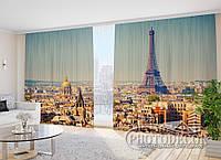 "Фото Шторы в зал ""Париж на ладони"" 2,7м*2,9м (2 половинки по 1,45м), тесьма"