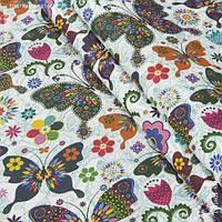 Ткань с акриловой пропиткой цветные бабочки,фон белый