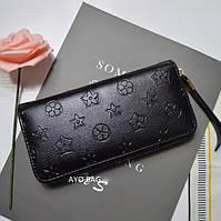 Женский кошелек в стиле Louis Vuitton с тиснением на молнии большой черный, фото 1