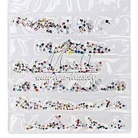 Стразы цветные,6 ячеек с разным размером 720 шт