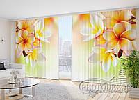 """3D Фото Шторы в зал """"Цветы франжипани"""" 2,7м*2,9м (2 половинки по 1,45м), тесьма"""