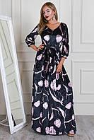 Красивое длинное платье в пол из велюра