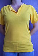 Футболка трикотажная застежка-кнопка желтая с 38 размера