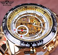 Механические часы с автоподзаводом Winner (gold-white)
