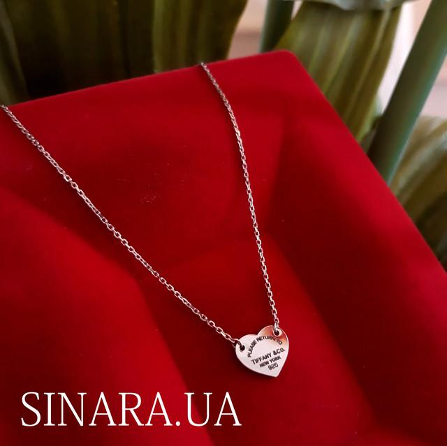 Серебряное колье Сердце Тиффани Tiffany - Кулон Сердце Tiffany Тиффани картинка 1