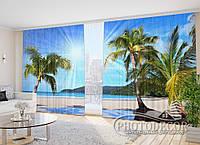 """Фото Шторы в зал """"Солнечный пляж"""" 2,7м*2,9м (2 половинки по 1,45м), тесьма"""