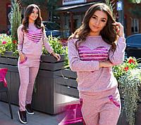 Стильный  женский розовый трикотажный спортивный костюм с паетками. Арт-2628/39