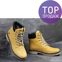 Мужские зимние ботинки Timberland, рыжего цвета / ботинки мужские Тимберленд, кожаные, теплые, удобные
