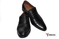 Мужские кожаные модельные туфли Cevivo, черные, каблук, кожаная подкладка