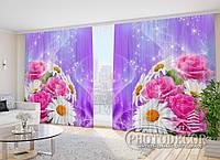 """Фото Шторы в зал """"Розы с ромашками"""" 2,7м*2,9м (2 половинки по 1,45м), тесьма"""