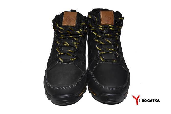 Топ Подростковые зимние кожаные ботинки, Columbia, черные, водоотталкивающие b9bd9706685