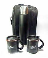 Набор Термос 1л + 2 шт термокружки 300 мл в сумке