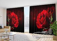 """3D Фото Шторы в зал """"Розы"""" 2,7м*2,9м (2 полотна по 1,45м), тесьма"""