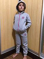 """Детский теплый спортивный костюм для девочки с начесом  """"Адидас"""""""