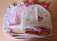 Трикотажные шапки на девочку Бантики на завязках 36-40 см