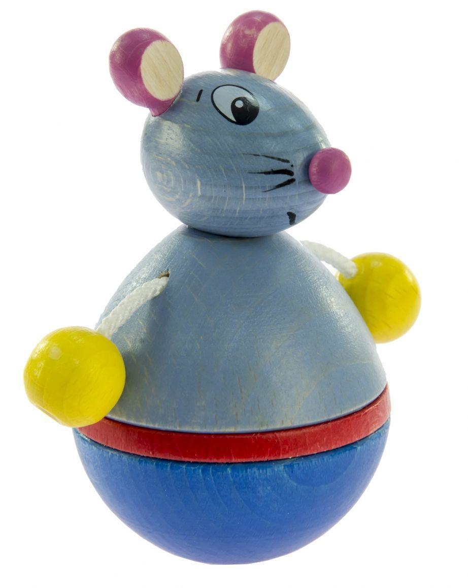 Интересная детская игрушка-неваляшка деревянная Мышка nic NIC61552