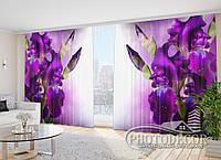 """3D ФотоШторы в зал """"Бархатные ирисы"""" 2,7м*3,5м (2 полотна по 1,75м), тесьма"""