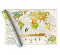 Скретч карта світу Travel Map Geography World (англ) (тубус)