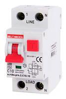Выключатель дифференциального тока с функцией защиты от сверхтоков e.rcbo.pro.2.С10.10, 1P+N, 10А, С, тип А, 10мА